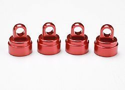 TRAX 3767X - Red-anodized aluminum shock caps, aluminum (4) (fits all Ultra Shocks)